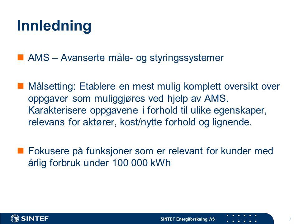 SINTEF Energiforskning AS 2 Innledning AMS – Avanserte måle- og styringssystemer Målsetting: Etablere en mest mulig komplett oversikt over oppgaver som muliggjøres ved hjelp av AMS.
