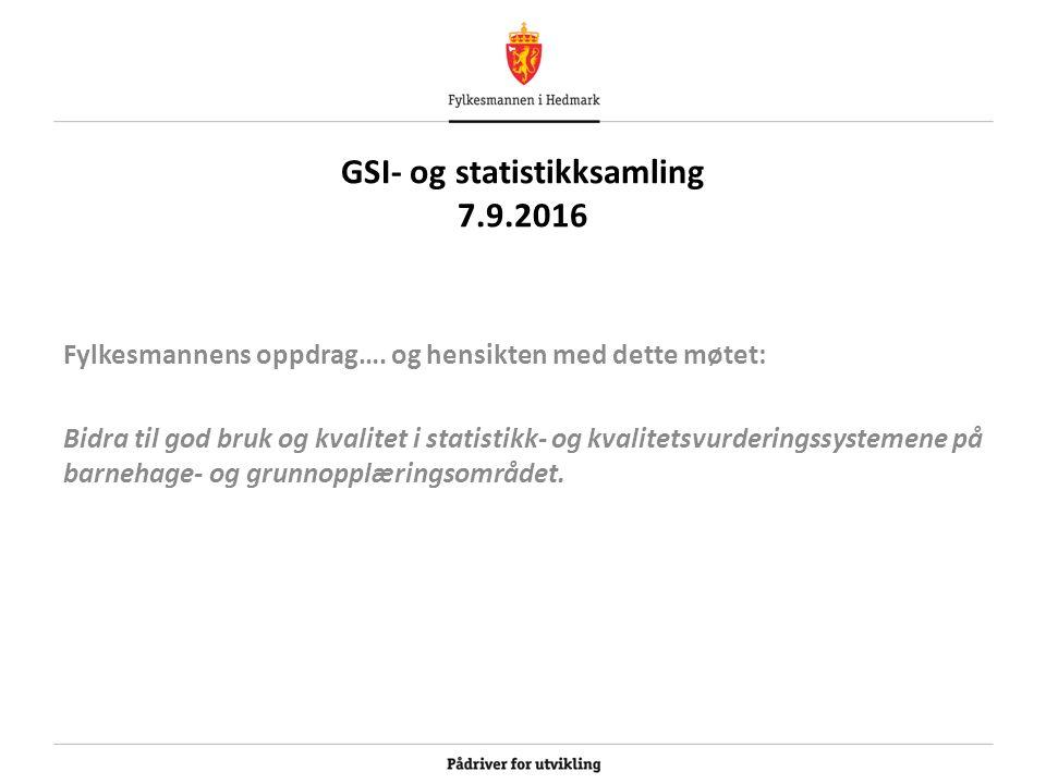 GSI- og statistikksamling 7.9.2016 Fylkesmannens oppdrag….
