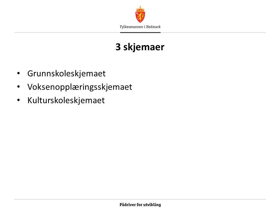 3 skjemaer Grunnskoleskjemaet Voksenopplæringsskjemaet Kulturskoleskjemaet