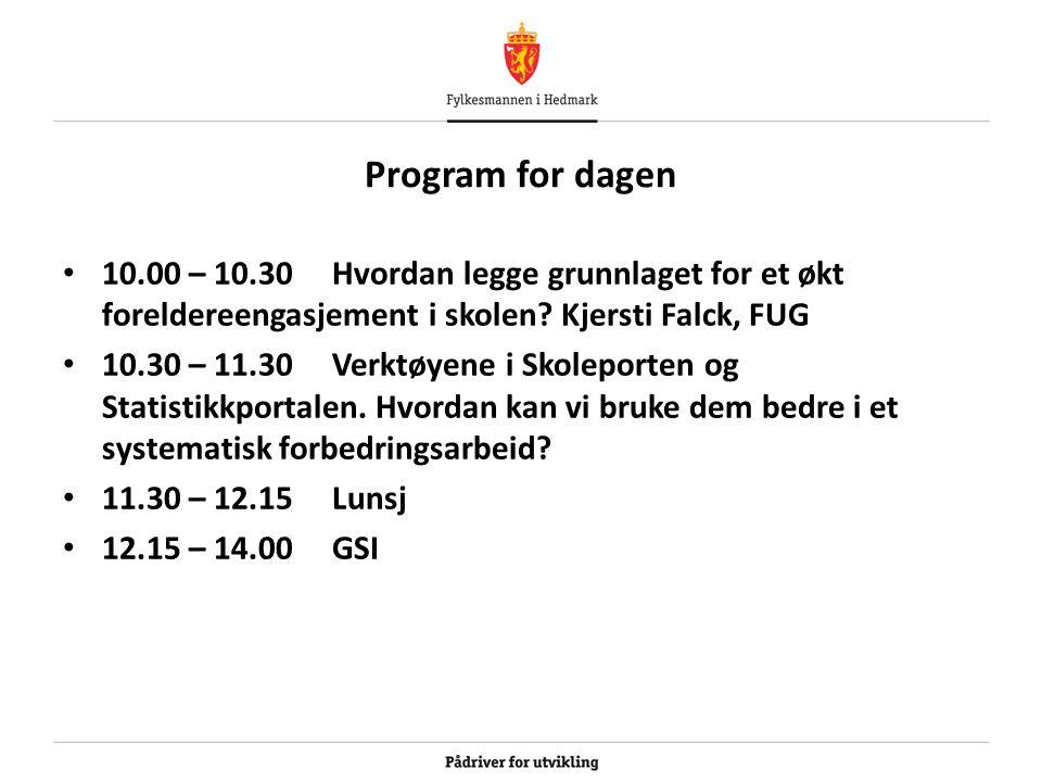 Program for dagen 10.00 – 10.30 Hvordan legge grunnlaget for et økt foreldereengasjement i skolen.
