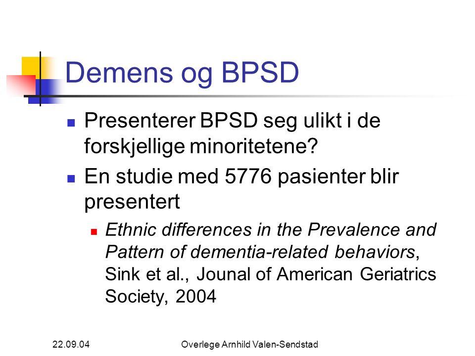 22.09.04Overlege Arnhild Valen-Sendstad Demens og BPSD Presenterer BPSD seg ulikt i de forskjellige minoritetene? En studie med 5776 pasienter blir pr