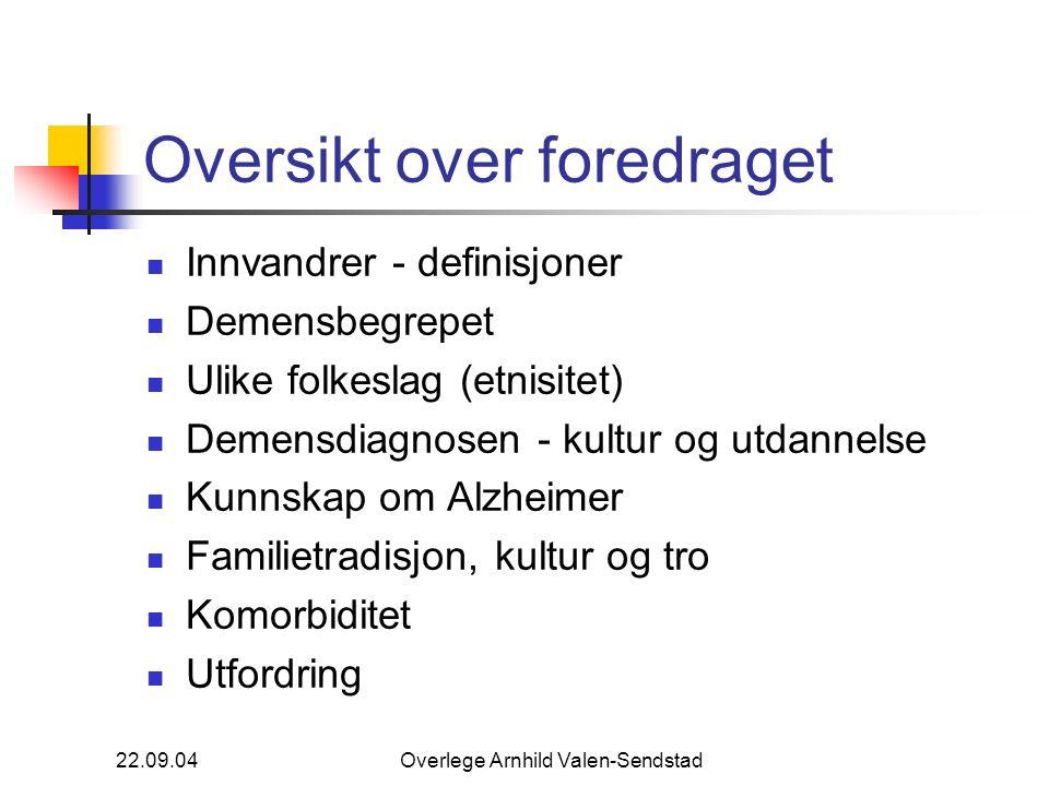 22.09.04Overlege Arnhild Valen-Sendstad Oversikt over foredraget Innvandrer - definisjoner Demensbegrepet Ulike folkeslag (etnisitet) Demensdiagnosen