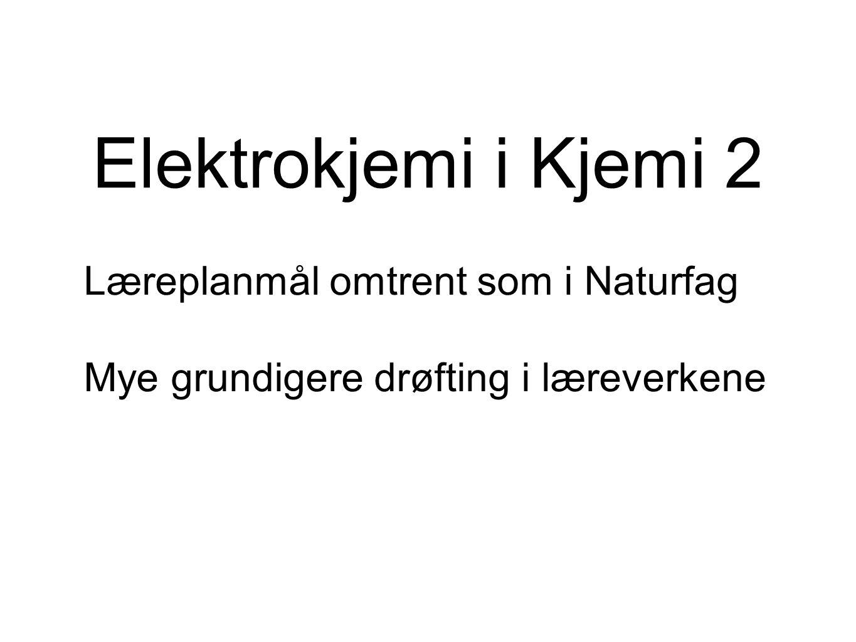 Lab med elektrolyse Elektrolyse av kobberklorid Elektrolyse av vann (1 og 2) Kanskje også blodsukkeranalyse?