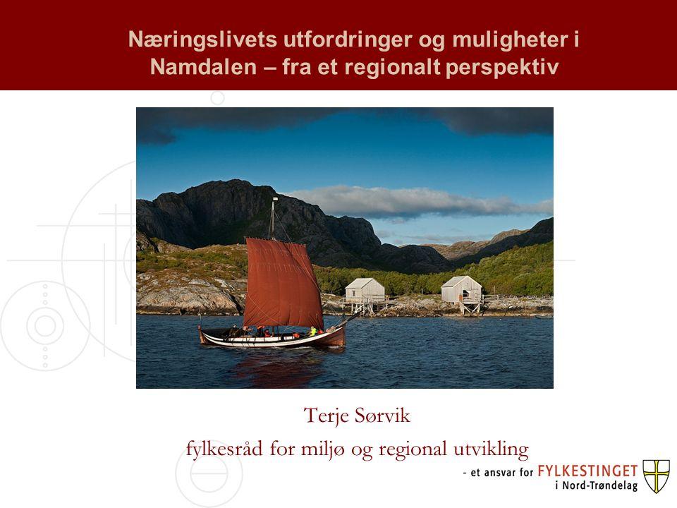 Næringslivets utfordringer og muligheter i Namdalen – fra et regionalt perspektiv Terje Sørvik fylkesråd for miljø og regional utvikling