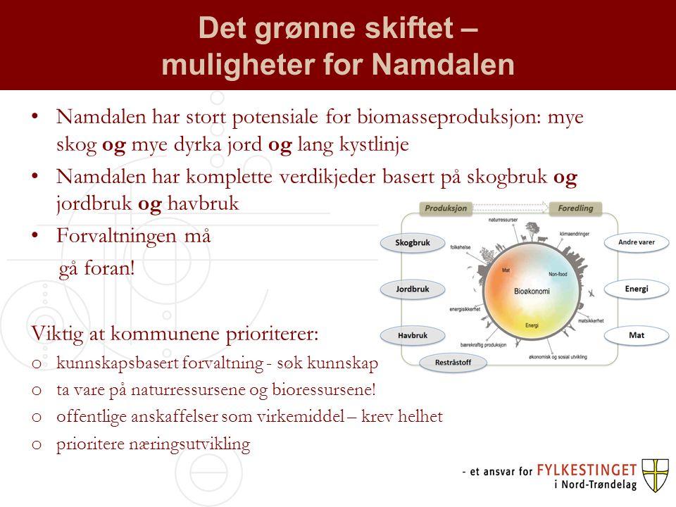Det grønne skiftet – muligheter for Namdalen Namdalen har stort potensiale for biomasseproduksjon: mye skog og mye dyrka jord og lang kystlinje Namdalen har komplette verdikjeder basert på skogbruk og jordbruk og havbruk Forvaltningen må gå foran.