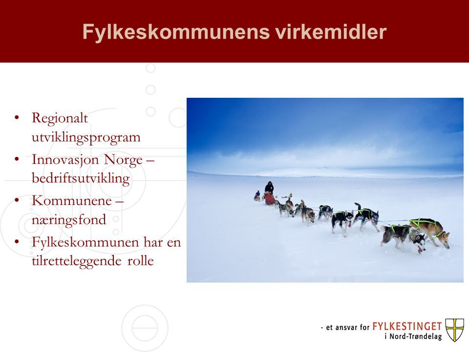 Fylkeskommunens virkemidler Regionalt utviklingsprogram Innovasjon Norge – bedriftsutvikling Kommunene – næringsfond Fylkeskommunen har en tilretteleggende rolle