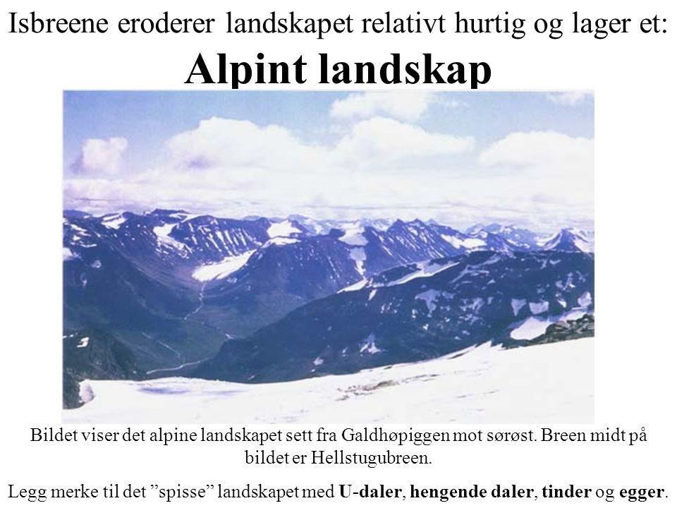 Isbreene eroderer landskapet relativt hurtig og lager et: Alpint landskap Bildet viser det alpine landskapet sett fra Galdhøpiggen mot sørøst. Breen m