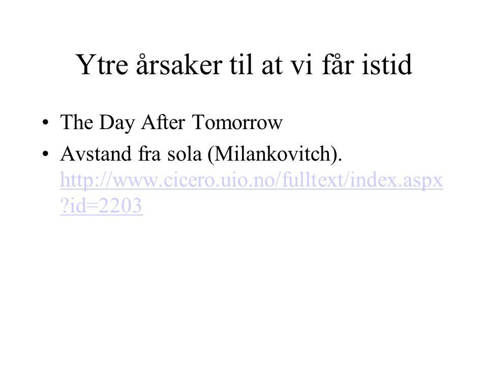Ytre årsaker til at vi får istid The Day After Tomorrow Avstand fra sola (Milankovitch). http://www.cicero.uio.no/fulltext/index.aspx ?id=2203 http://