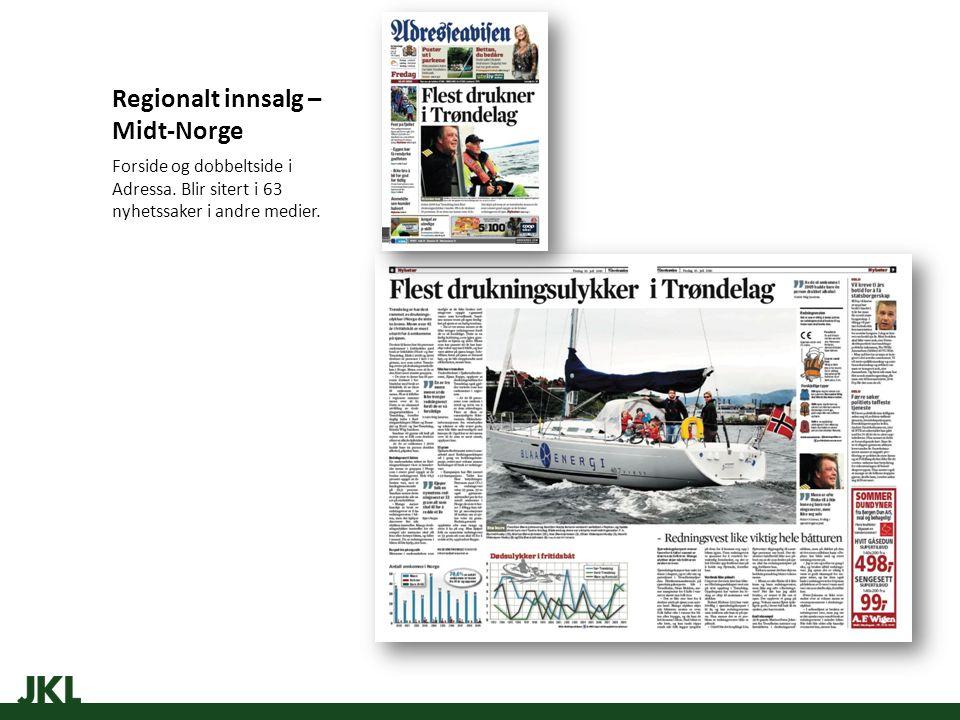 Regionalt innsalg – Midt-Norge Forside og dobbeltside i Adressa.