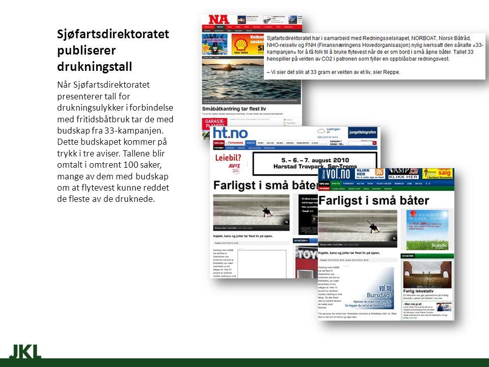 Sjøfartsdirektoratet publiserer drukningstall Når Sjøfartsdirektoratet presenterer tall for drukningsulykker i forbindelse med fritidsbåtbruk tar de med budskap fra 33-kampanjen.