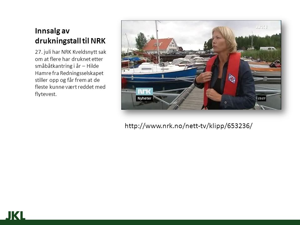 Innsalg av drukningstall til NRK 27.