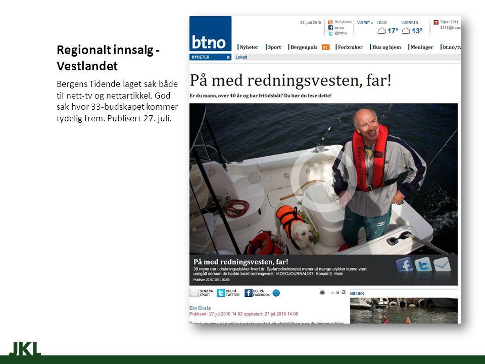 Regionalt innsalg - Vestlandet Bergens Tidende laget sak både til nett-tv og nettartikkel.