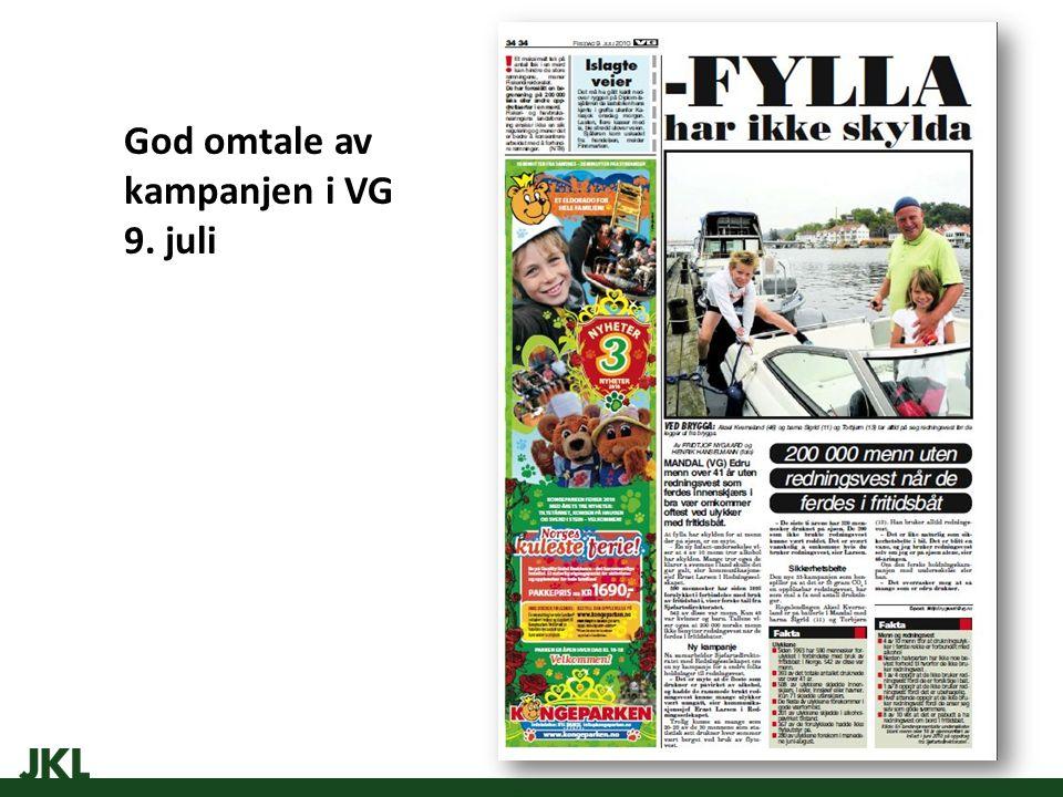 God omtale av kampanjen i VG 9. juli