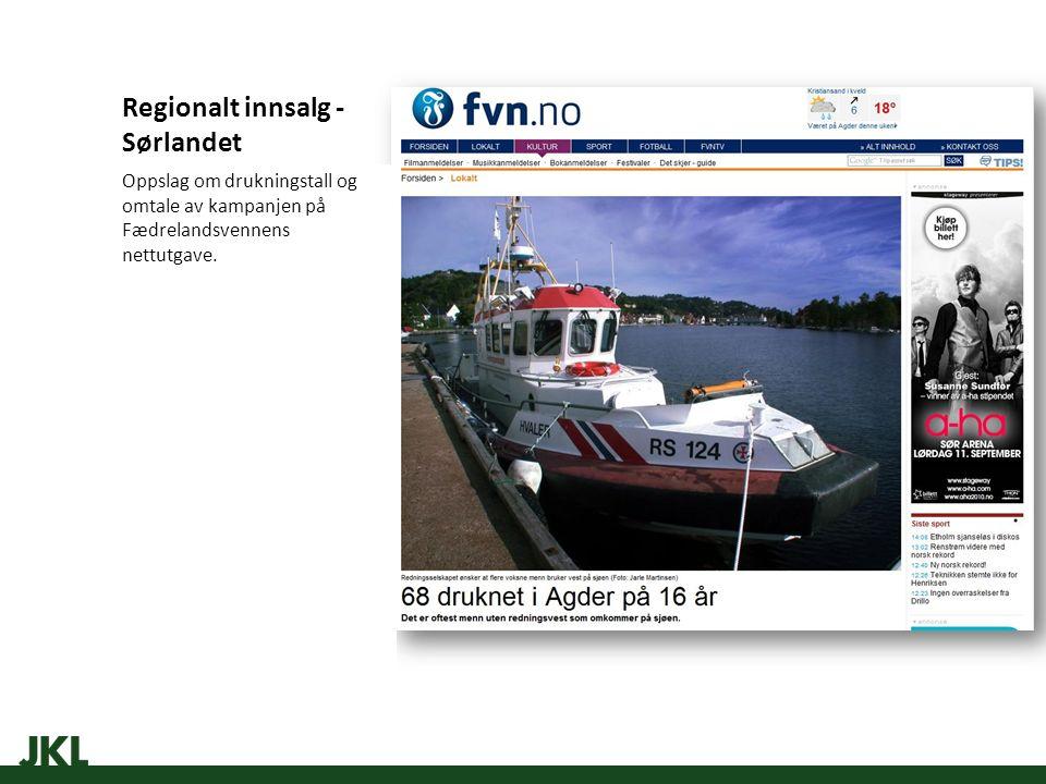 Regionalt innsalg - Sørlandet Oppslag om drukningstall og omtale av kampanjen på Fædrelandsvennens nettutgave.