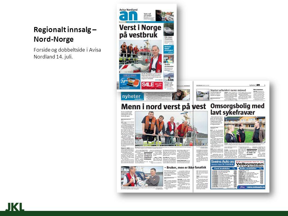 Regionalt innsalg – Nord-Norge Forside og dobbeltside i Avisa Nordland 14. juli.