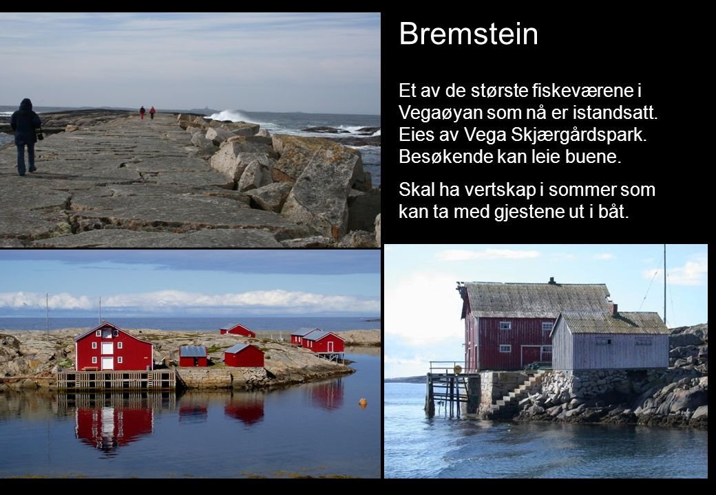 Bremstein Et av de største fiskeværene i Vegaøyan som nå er istandsatt. Eies av Vega Skjærgårdspark. Besøkende kan leie buene. Skal ha vertskap i somm