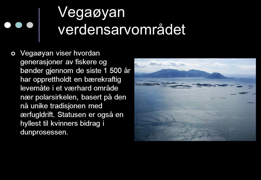Vegaøyan verdensarvområdet Vegaøyan viser hvordan generasjoner av fiskere og bønder gjennom de siste 1 500 år har opprettholdt en bærekraftig levemåte i et værhard område nær polarsirkelen, basert på den nå unike tradisjonen med ærfugldrift.
