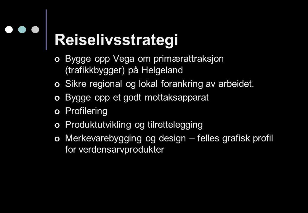 Reiselivsstrategi Bygge opp Vega om primærattraksjon (trafikkbygger) på Helgeland Sikre regional og lokal forankring av arbeidet. Bygge opp et godt mo