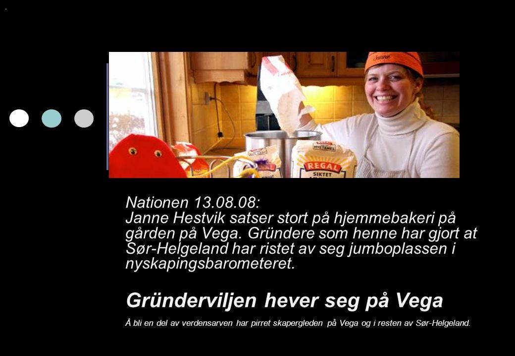 Nationen 13.08.08: Janne Hestvik satser stort på hjemmebakeri på gården på Vega. Gründere som henne har gjort at Sør-Helgeland har ristet av seg jumbo