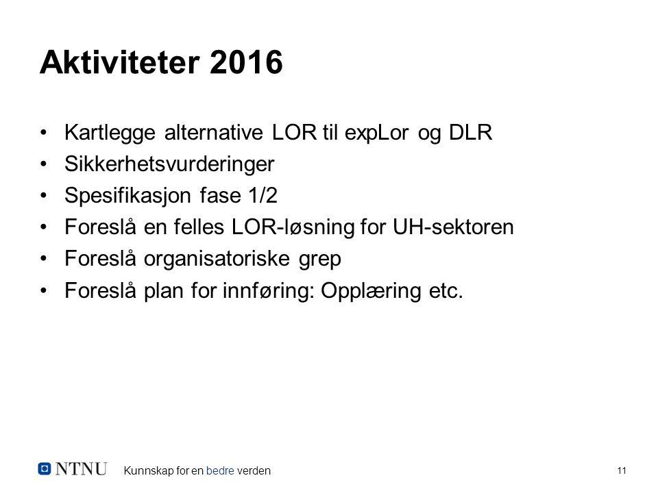 Kunnskap for en bedre verden 11 Aktiviteter 2016 Kartlegge alternative LOR til expLor og DLR Sikkerhetsvurderinger Spesifikasjon fase 1/2 Foreslå en felles LOR-løsning for UH-sektoren Foreslå organisatoriske grep Foreslå plan for innføring: Opplæring etc.