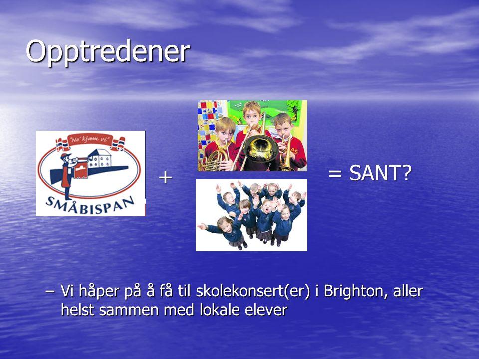 Opptredener –Vi håper på å få til skolekonsert(er) i Brighton, aller helst sammen med lokale elever + = SANT