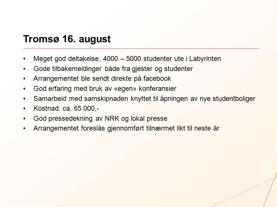 Tromsø 16. august Meget god deltakelse, 4000 – 5000 studenter ute i Labyrinten Gode tilbakemeldinger både fra gjester og studenter Arrangementet ble s