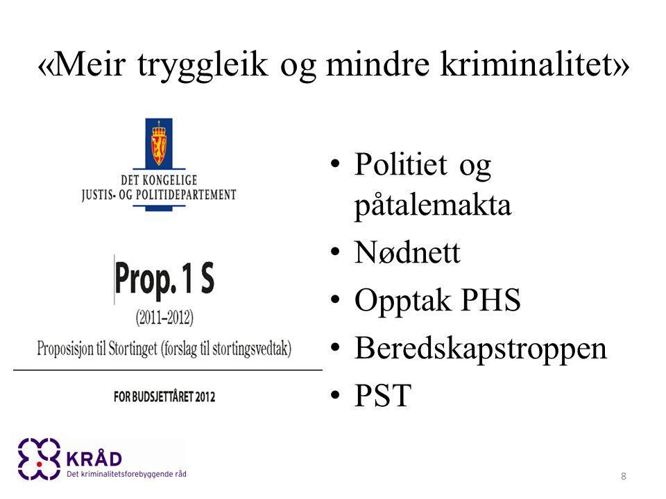 «Meir tryggleik og mindre kriminalitet» Politiet og påtalemakta Nødnett Opptak PHS Beredskapstroppen PST 8