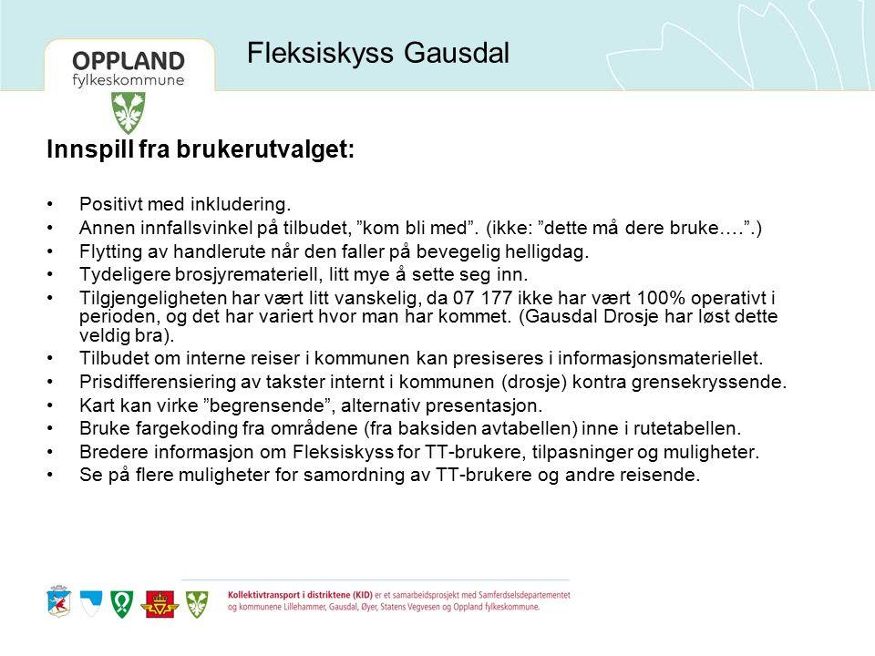 Fleksiskyss Gausdal Innspill fra brukerutvalget: Positivt med inkludering.