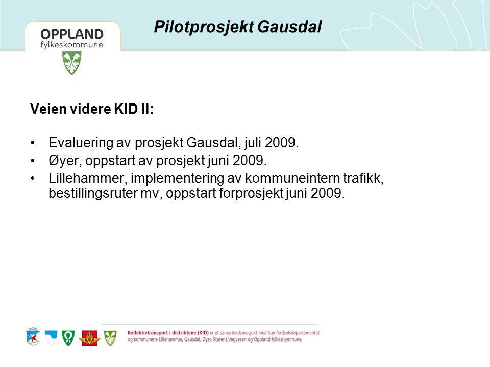 Veien videre KID II: Evaluering av prosjekt Gausdal, juli 2009. Øyer, oppstart av prosjekt juni 2009. Lillehammer, implementering av kommuneintern tra