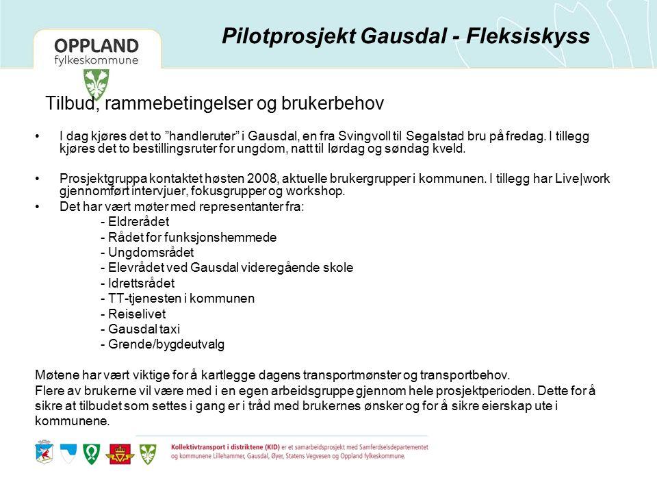 Tilbud, rammebetingelser og brukerbehov I dag kjøres det to handleruter i Gausdal, en fra Svingvoll til Segalstad bru på fredag.