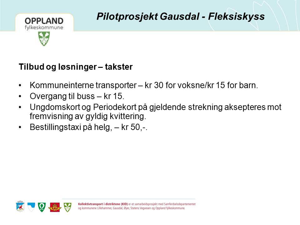 Tilbud og løsninger – takster Kommuneinterne transporter – kr 30 for voksne/kr 15 for barn.