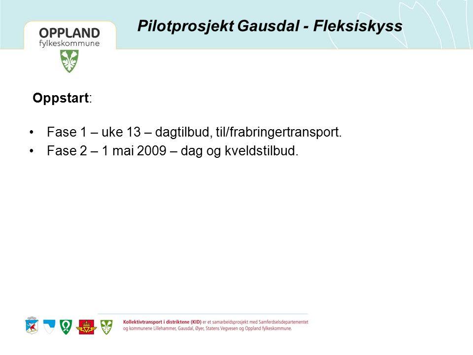 Oppstart: Fase 1 – uke 13 – dagtilbud, til/frabringertransport. Fase 2 – 1 mai 2009 – dag og kveldstilbud. Pilotprosjekt Gausdal - Fleksiskyss