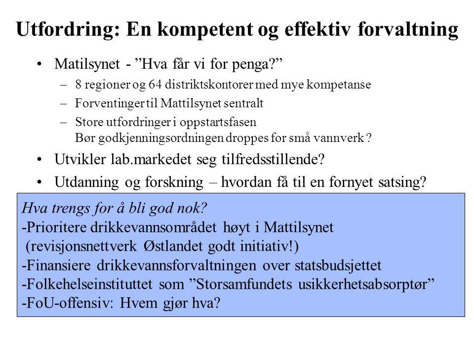 Hva trengs for å bli god nok? -Prioritere drikkevannsområdet høyt i Mattilsynet (revisjonsnettverk Østlandet godt initiativ!) -Finansiere drikkevannsf