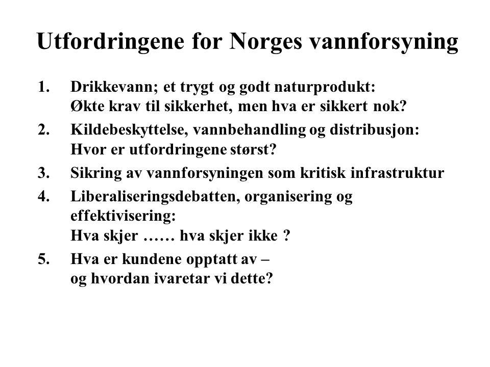 Utfordringene for Norges vannforsyning 1.Drikkevann; et trygt og godt naturprodukt: Økte krav til sikkerhet, men hva er sikkert nok.