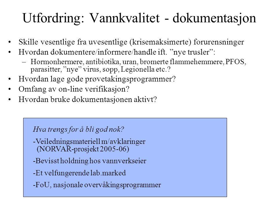 Utfordring: Vannkvalitet - dokumentasjon Skille vesentlige fra uvesentlige (krisemaksimerte) forurensninger Hvordan dokumentere/informere/handle ift.