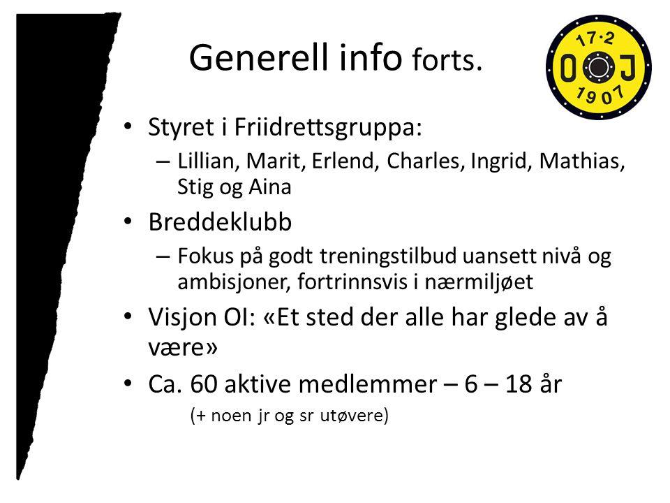 Generell info forts. Styret i Friidrettsgruppa: – Lillian, Marit, Erlend, Charles, Ingrid, Mathias, Stig og Aina Breddeklubb – Fokus på godt treningst