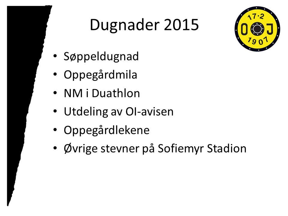 Dugnader 2015 Søppeldugnad Oppegårdmila NM i Duathlon Utdeling av OI-avisen Oppegårdlekene Øvrige stevner på Sofiemyr Stadion