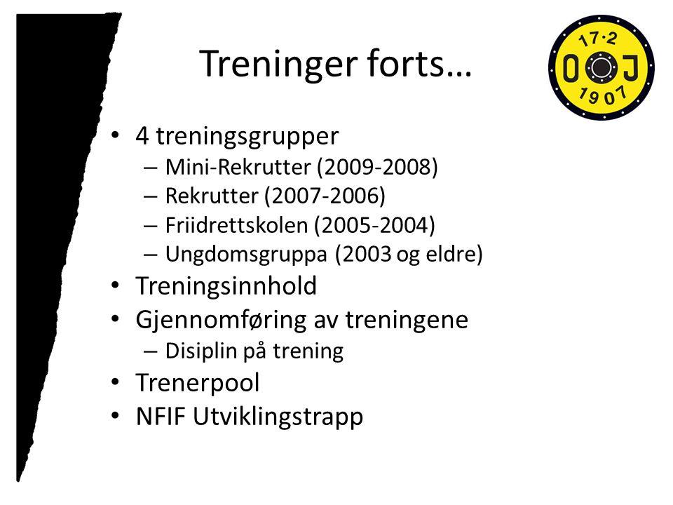 Treninger forts… 4 treningsgrupper – Mini-Rekrutter (2009-2008) – Rekrutter (2007-2006) – Friidrettskolen (2005-2004) – Ungdomsgruppa (2003 og eldre) Treningsinnhold Gjennomføring av treningene – Disiplin på trening Trenerpool NFIF Utviklingstrapp