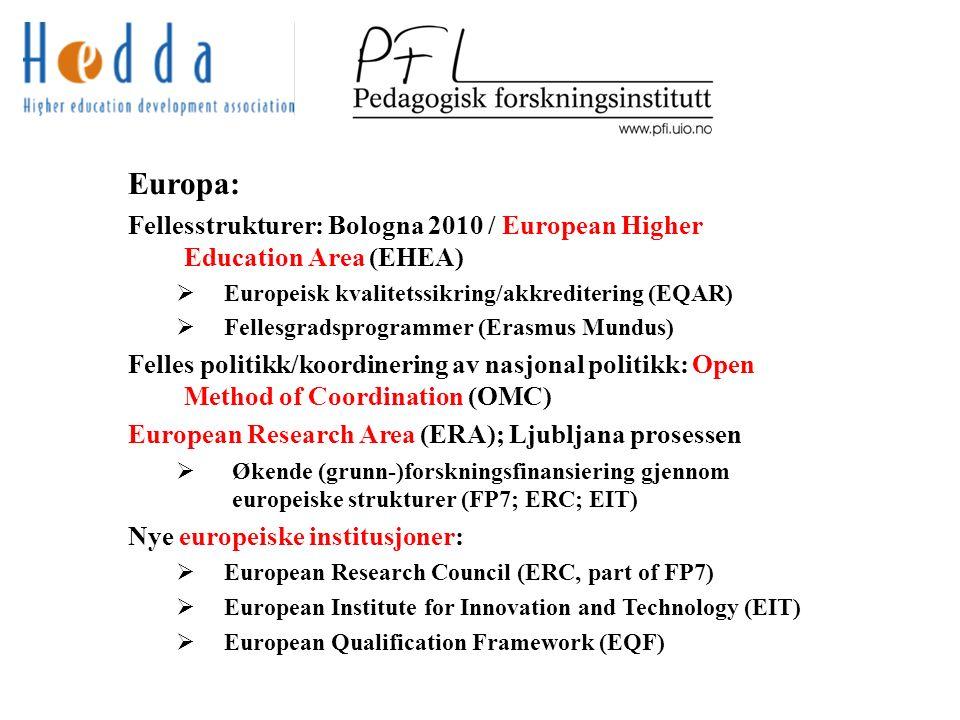 Europa: Fellesstrukturer: Bologna 2010 / European Higher Education Area (EHEA)  Europeisk kvalitetssikring/akkreditering (EQAR)  Fellesgradsprogrammer (Erasmus Mundus) Felles politikk/koordinering av nasjonal politikk: Open Method of Coordination (OMC) European Research Area (ERA); Ljubljana prosessen  Økende (grunn-)forskningsfinansiering gjennom europeiske strukturer (FP7; ERC; EIT) Nye europeiske institusjoner:  European Research Council (ERC, part of FP7)  European Institute for Innovation and Technology (EIT)  European Qualification Framework (EQF)