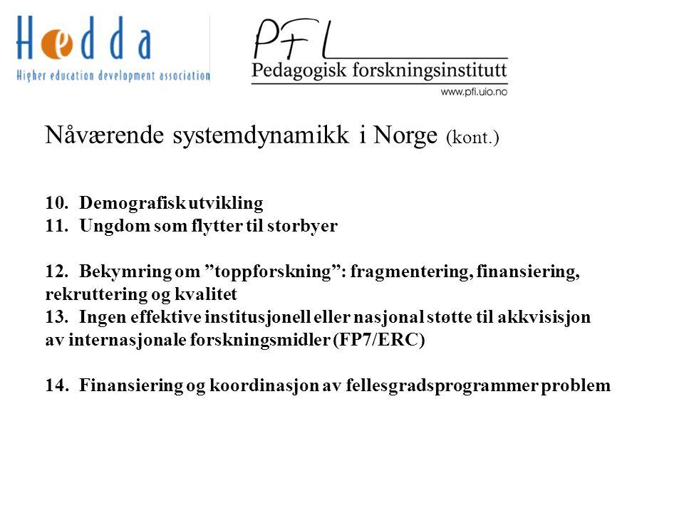 Nåværende systemdynamikk i Norge (kont.) 10.Demografisk utvikling 11.Ungdom som flytter til storbyer 12.Bekymring om toppforskning : fragmentering, finansiering, rekruttering og kvalitet 13.Ingen effektive institusjonell eller nasjonal støtte til akkvisisjon av internasjonale forskningsmidler (FP7/ERC) 14.Finansiering og koordinasjon av fellesgradsprogrammer problem