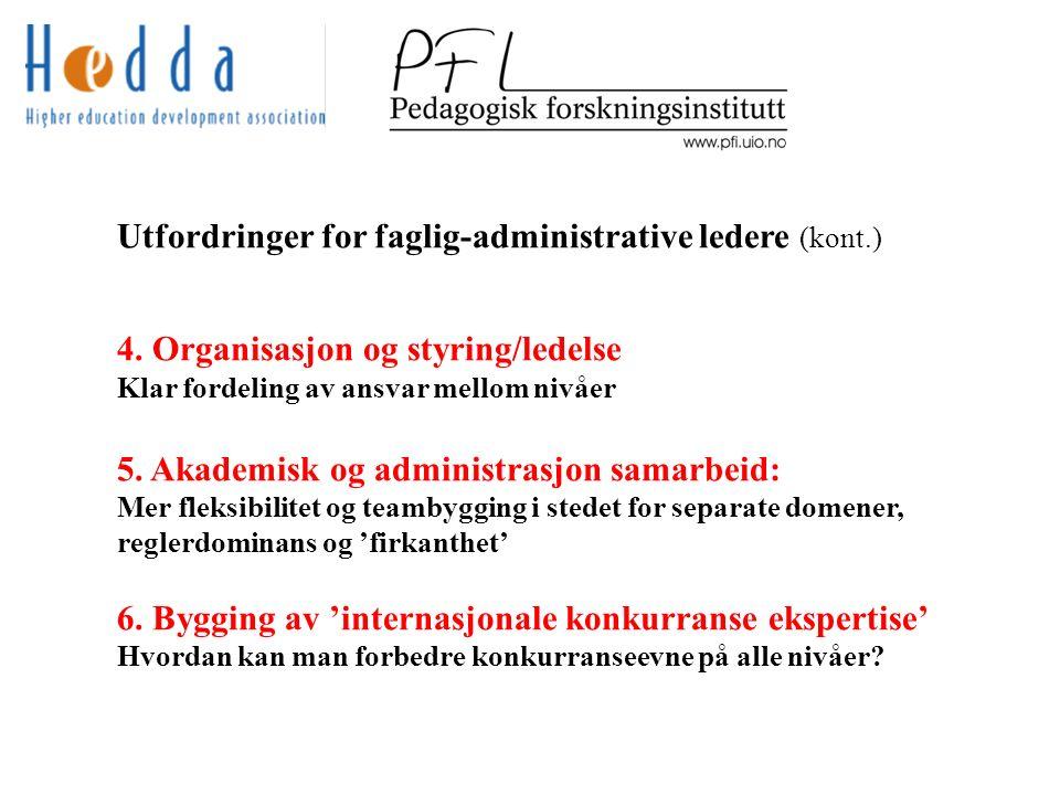 Utfordringer for faglig-administrative ledere (kont.) 4.