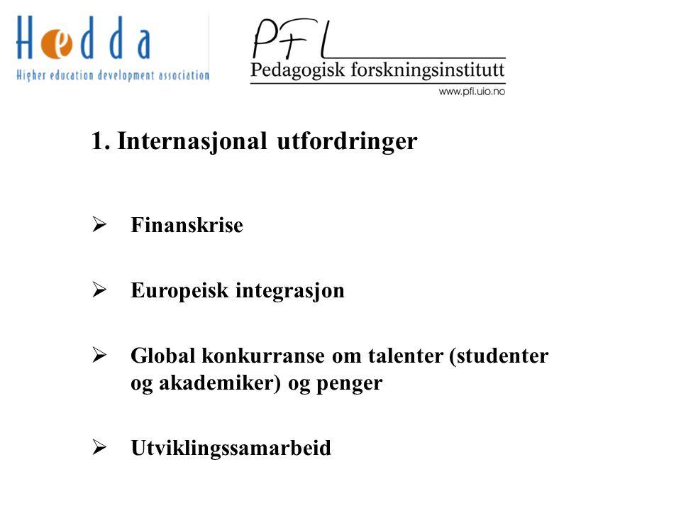 1. Internasjonal utfordringer  Finanskrise  Europeisk integrasjon  Global konkurranse om talenter (studenter og akademiker) og penger  Utviklingss