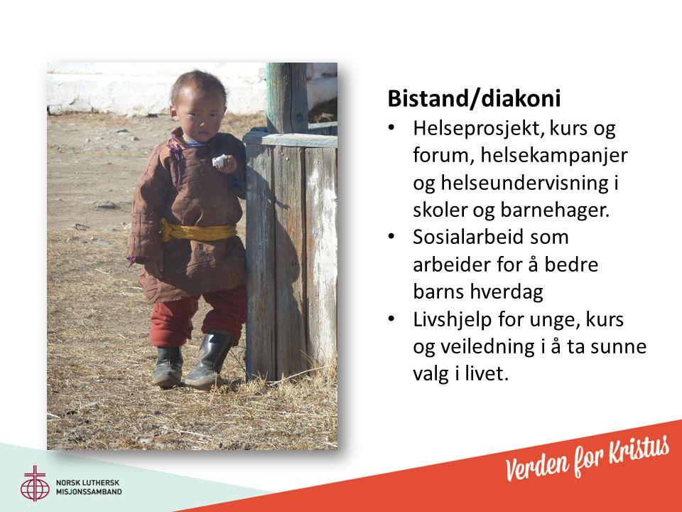 Bistand/diakoni Helseprosjekt, kurs og forum, helsekampanjer og helseundervisning i skoler og barnehager. Sosialarbeid som arbeider for å bedre barns