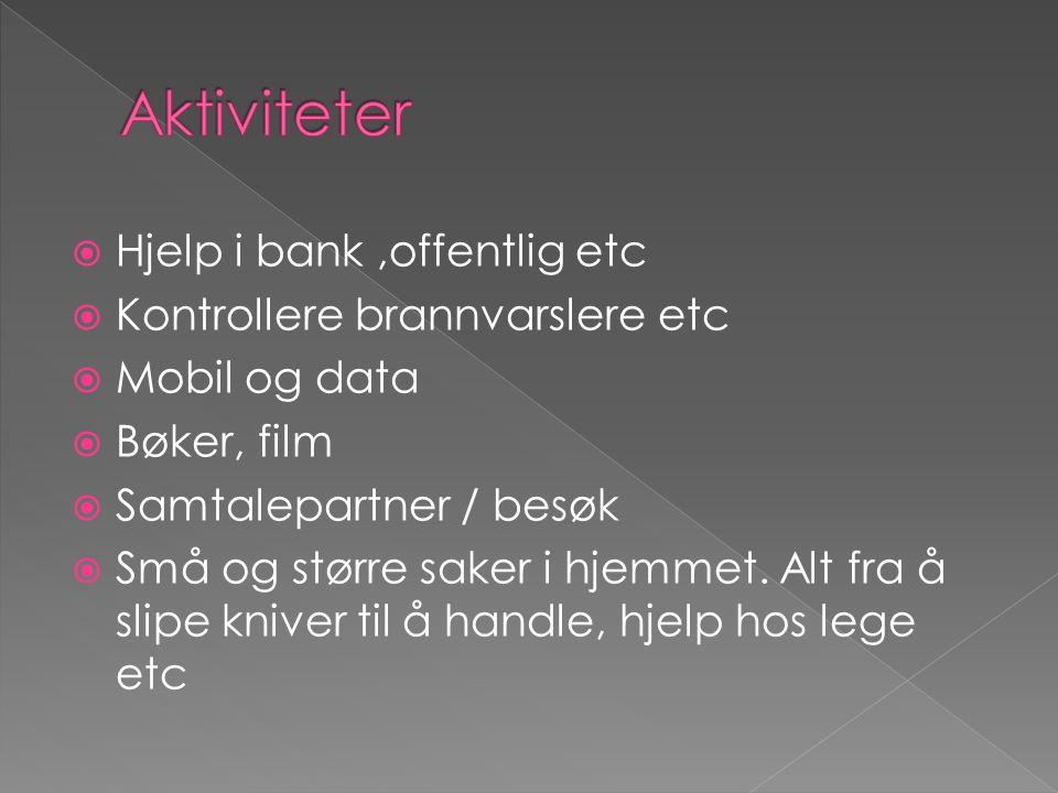  Hjelp i bank,offentlig etc  Kontrollere brannvarslere etc  Mobil og data  Bøker, film  Samtalepartner / besøk  Små og større saker i hjemmet.