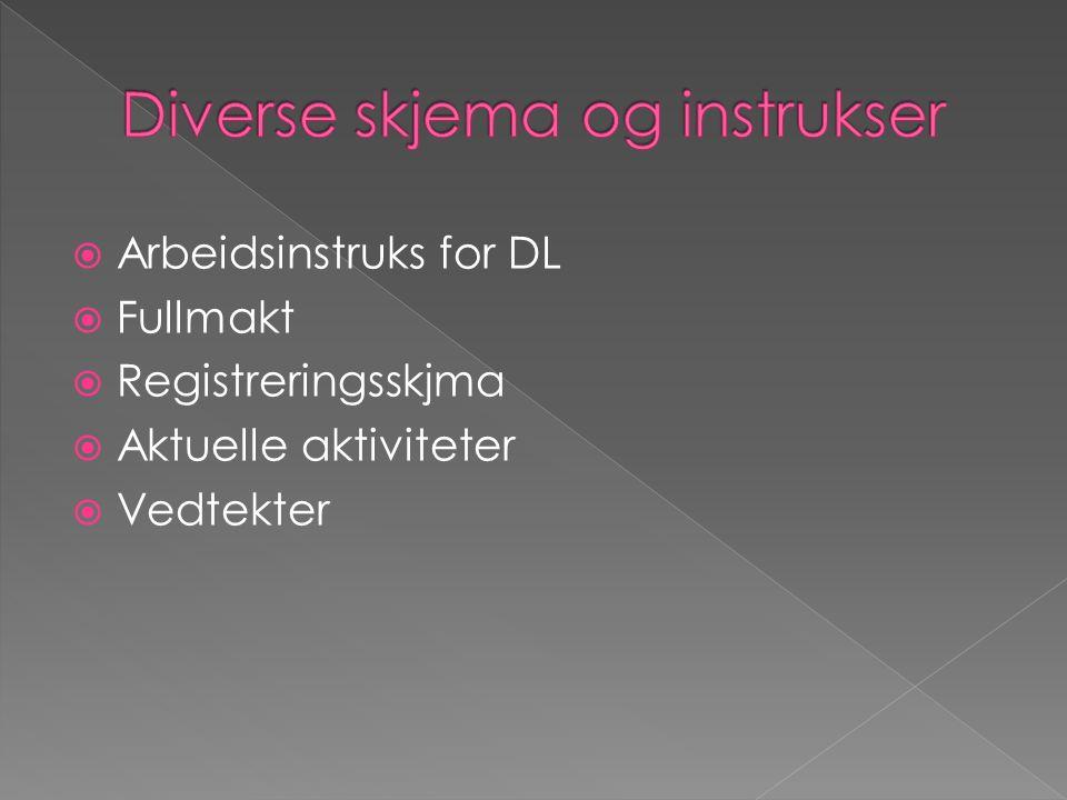  Arbeidsinstruks for DL  Fullmakt  Registreringsskjma  Aktuelle aktiviteter  Vedtekter