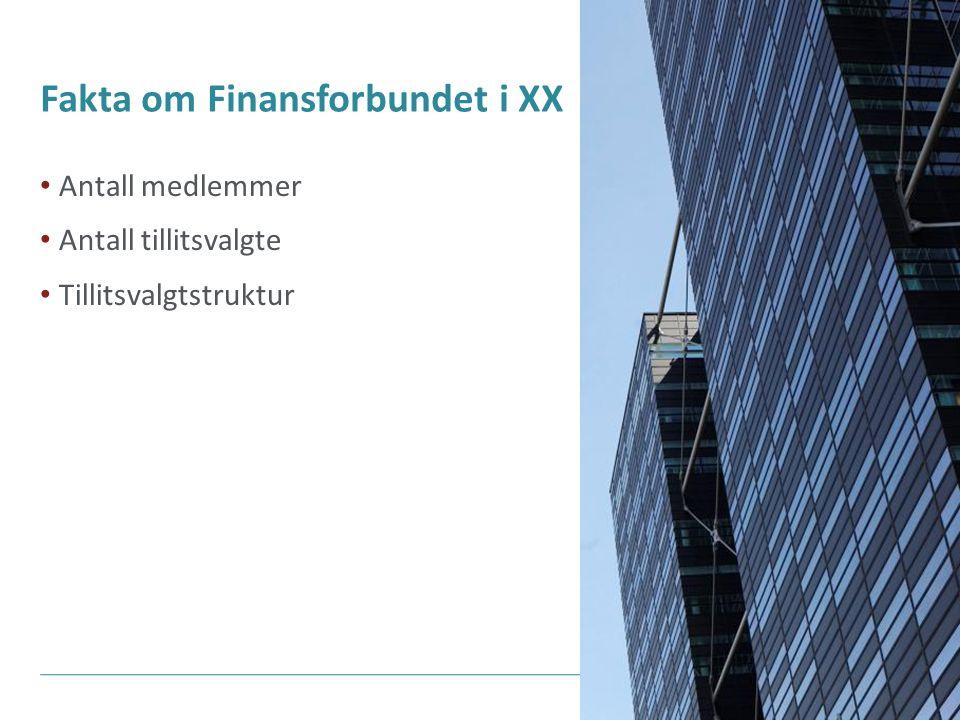 Fakta om Finansforbundet i XX Antall medlemmer Antall tillitsvalgte Tillitsvalgtstruktur