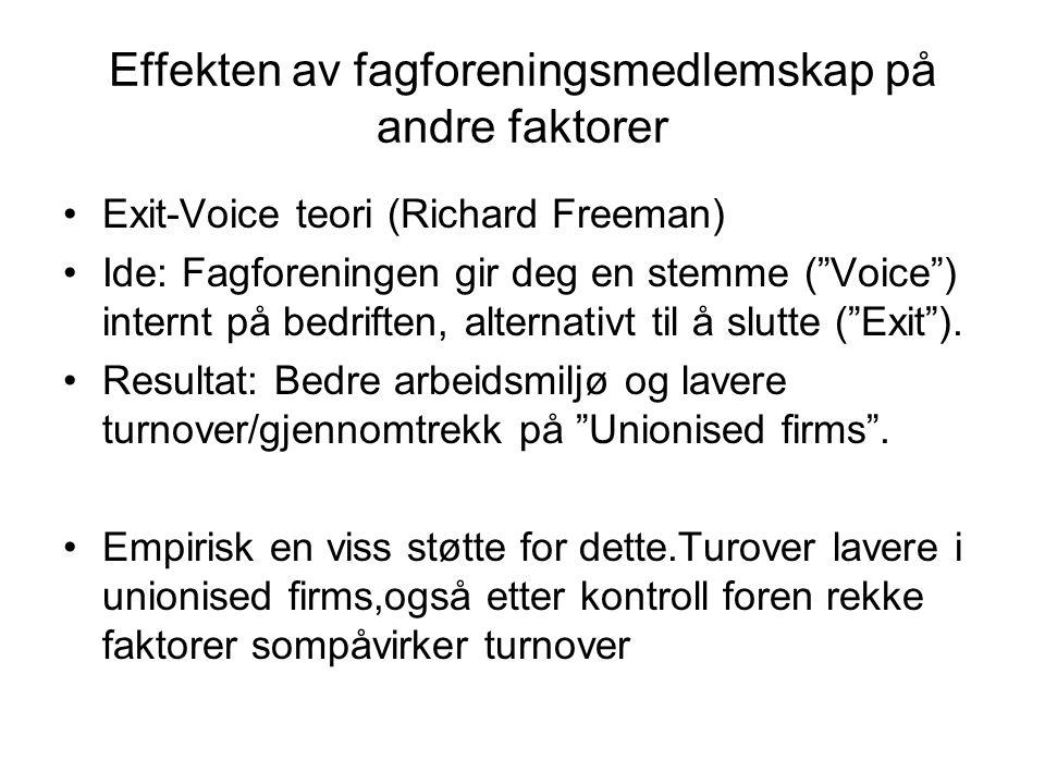 Effekten av fagforeningsmedlemskap på andre faktorer Exit-Voice teori (Richard Freeman) Ide: Fagforeningen gir deg en stemme ( Voice ) internt på bedriften, alternativt til å slutte ( Exit ).