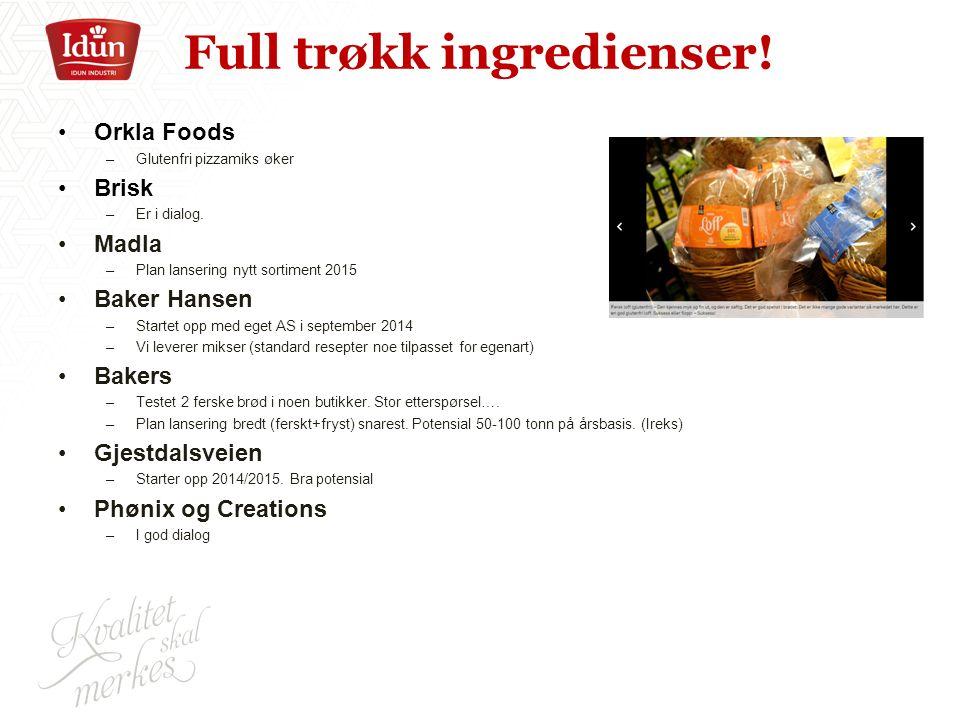 Full trøkk ingredienser. Orkla Foods –Glutenfri pizzamiks øker Brisk –Er i dialog.