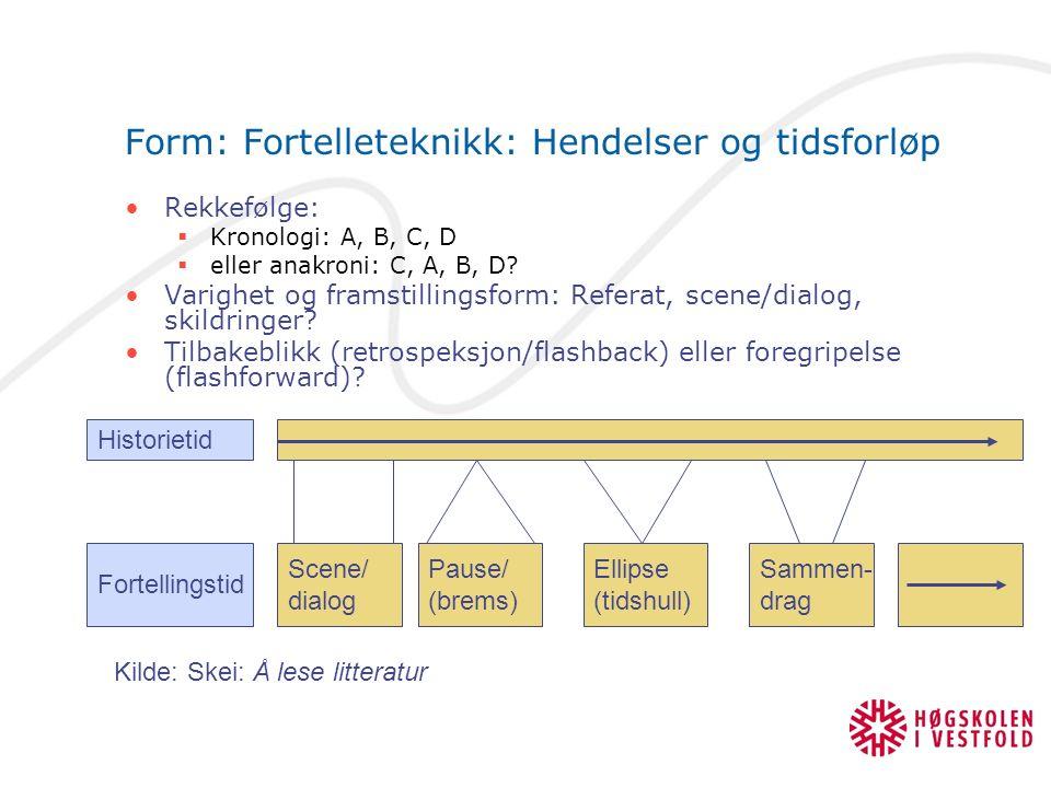 Form: Fortelleteknikk: Hendelser og tidsforløp Rekkefølge:  Kronologi: A, B, C, D  eller anakroni: C, A, B, D? Varighet og framstillingsform: Refera