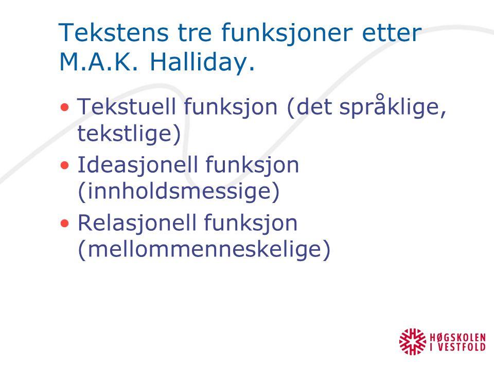 Tekstens tre funksjoner etter M.A.K. Halliday. Tekstuell funksjon (det språklige, tekstlige) Ideasjonell funksjon (innholdsmessige) Relasjonell funksj